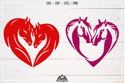 Horse Love Heart - Valentine Svg Design