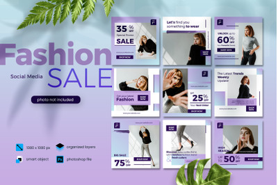 Fashion Sale Banner Social Media elegant purple template