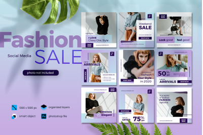 Fashion Sale Banner Social Media elegant purple template 2