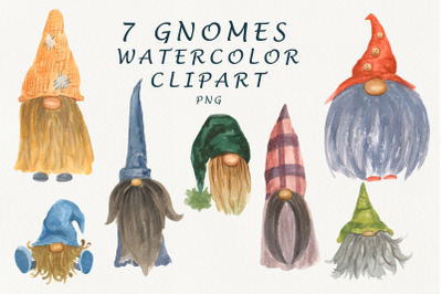 Scandinavian Gnomes watercolor Clipart.