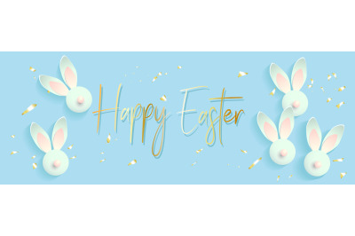 Easter banner background template with beautiful colorful spring rabbi