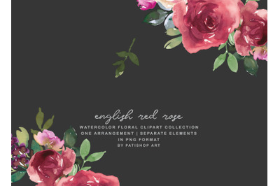 Red Rose Watercolor Floral Clipart