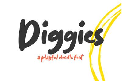Diggies - A Playful Doodle Font