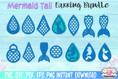 SVG, DXF, PDF, PNG, and EPS  Mermaid Tail Earring Template Bundle, Fau