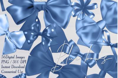 56 Blue Satin Bows and Ribbons Card Making Digital Images