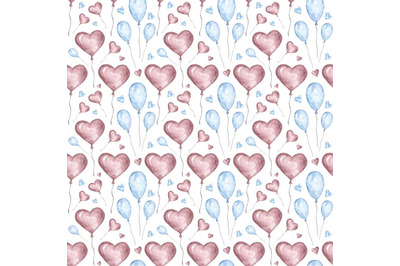"""Watercolor illustration, seamless pattern """"Valentine's Day""""."""