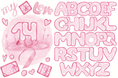 Pink Lovely Font Set. Valentine's Day. Food Letters & Numbers