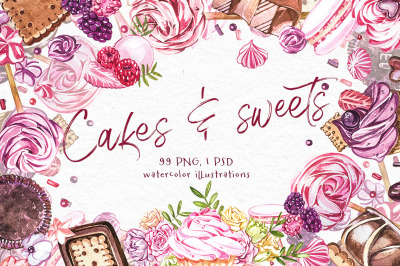 Cakes and sweets illustrations