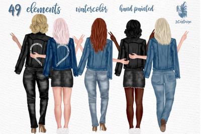 Best Friends Clipart Jeans Jackets Customizable clipart