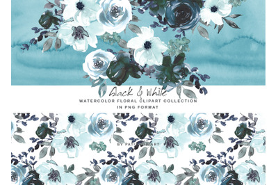 Black and White Watercolor Floral Clipart Set
