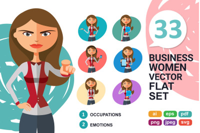 Blonde clerk woman Character Cartoon flat