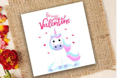 Be my Valentine hand drawn lettering. Cute unicorn sitting on a cloud.