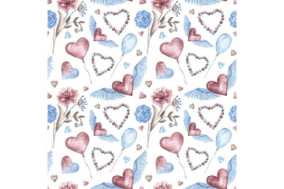 """Watercolor illustration, seamless pattern """"Valentine's Day"""""""