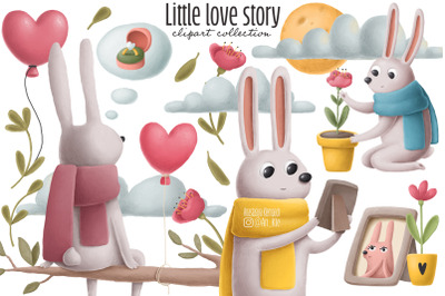 Little love story clipart