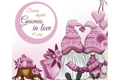 Gnomes in love clipart