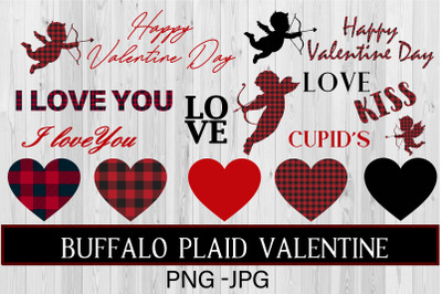 Buffalo plaid Valentine' s day clip art