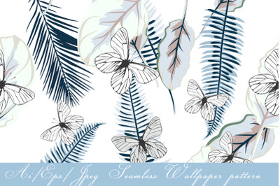 Seamless vector wallpaper pattern with palm leaves and butterflies