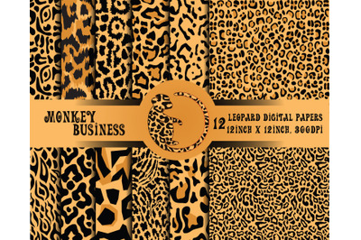 Leopard digital papers, Instant download, Scrapbook papers