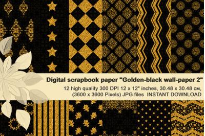 Golden- Black Glitter Digital  Paper.