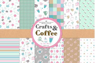 Crafts and Coffee seamless pattern papers and clipart