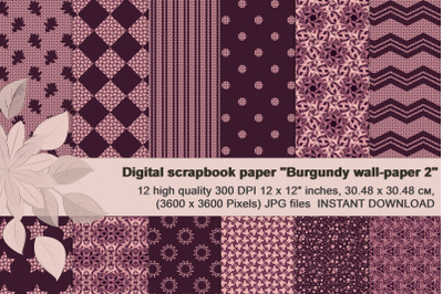 Burgundy abstract and geometrical Digital  Paper.