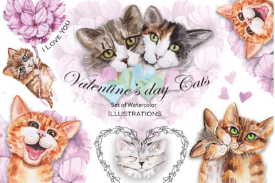 Valentine's Day Watercolor Cats and Hearts