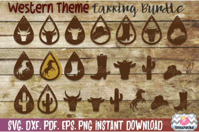 SVG, DXF, PDF, PNG, and EPS Western Earring Template Bundle, Cutting F