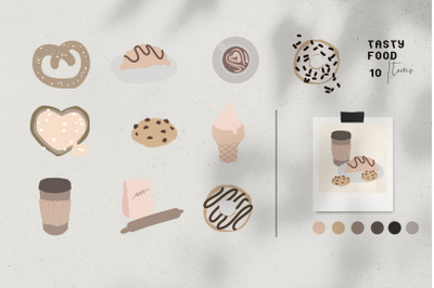 Neutral colors, trendy vector food clipart