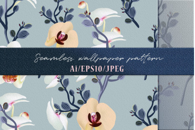 Fashion vector pattern with orchid flowers in vintage style