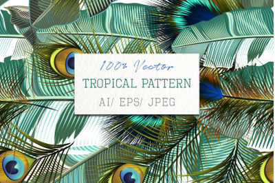 Fashion tropical pattern with realistic peacock feathers and banana gr