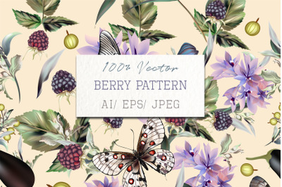 Fashion vector pattern with hand drawn butterflies and flowers