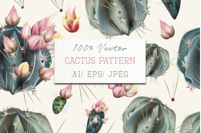 Fashion vector pattern with green bloom cactus plants