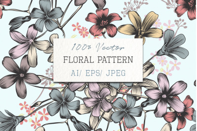 Floral vector background with pastel flowers