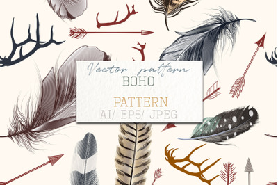Fashion bohemian pattern with feathers, Indian arrows and deer horns