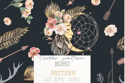 Fashion bohemian pattern with feathers, flowers, dreamcatcher
