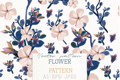 Fashion vector pattern with spring flowers