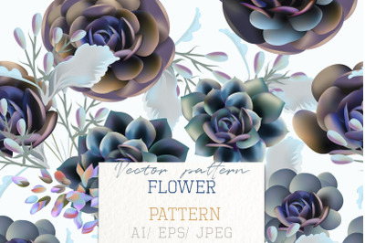 Fashion vector pattern with succulent plants and blue flowers