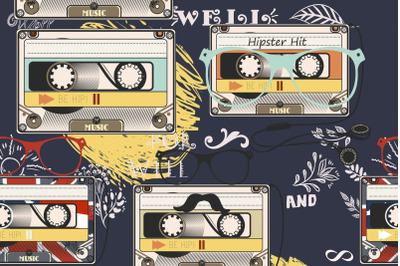 Hipster vector background with old cassette headphones notes bike and