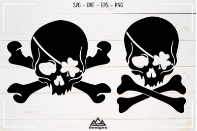 Shamrock Pirate Skull St. Patricks Day Svg Design