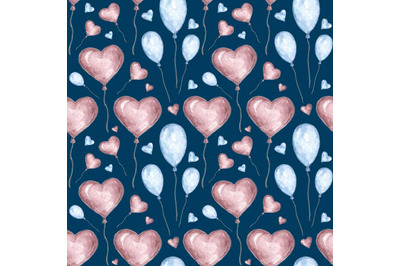 """Watercolor seamless pattern """"Valentine's Day"""""""