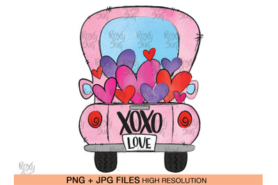 Valentine Truck PNG, Valentines Day png, XOXO