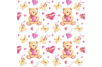 Love seamless pattern with teddy bears, hearts, letter envelopes
