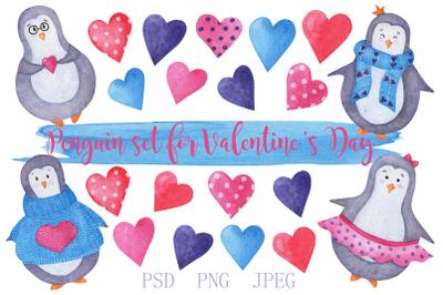 Penguin set for Valentine's day