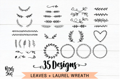 Leaves SVG, Leaf wreath svg, ornament divider svg, laurel wreaths svg