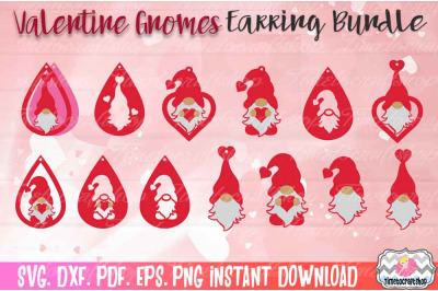 SVG, DXF, PDF, PNG, and EPS  Valentine Gnome Earring Template Bundle,