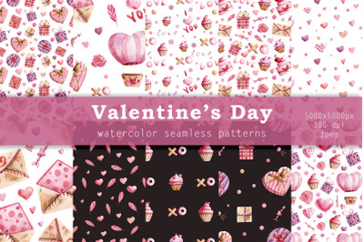 Velentine's Day. Watercolor seamless patterns