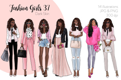 Watercolor Fashion Clipart - Fashion Girls 37 - Dark Skin