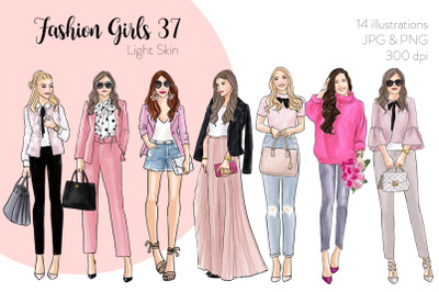 Watercolor Fashion Clipart - Fashion Girls 37 - Light Skin