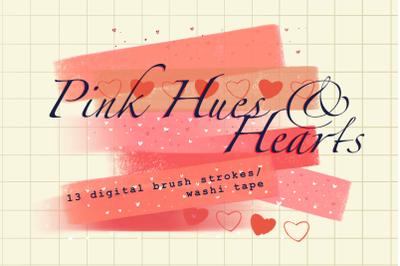 Pink hues and hearts brush strokes