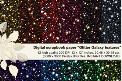 Glitter Galaxy Textures, Dark Night Digital Paper.